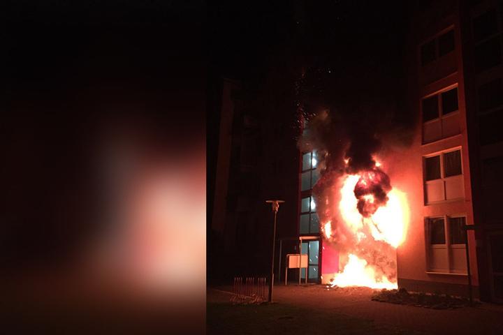Eine brennende Mülltonne löste im Februar einen Großbrand in der Altendorfer  Straße aus. Es gab sechs Verletzte.