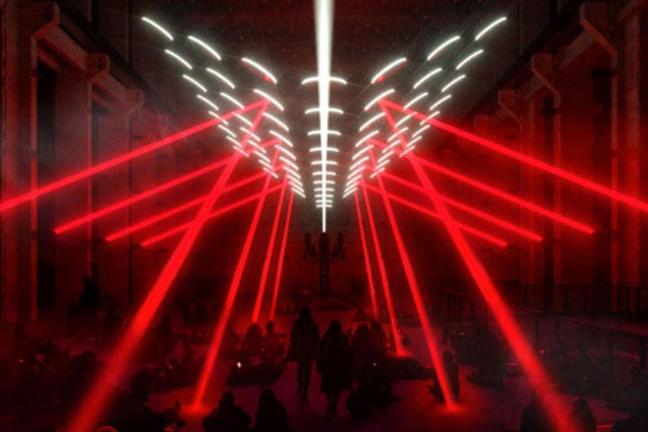 Die Ausstellung des Lichtkünstlers Christopher Bauder findet im Kraftwerk statt.