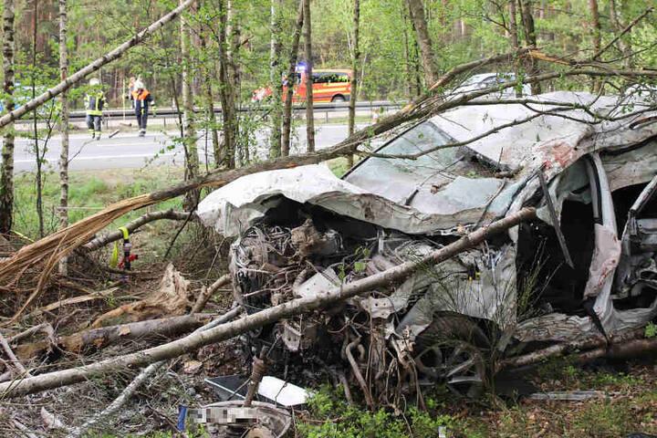 Das völlig demolierte Audi-Wrack musste von der Feuerwehr aus dem Wald geschnitten werden.