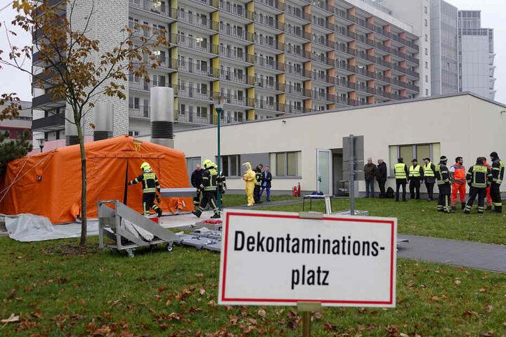 Für die Übung wurde auch ein Dekontaminationsplatz eingerichtet.