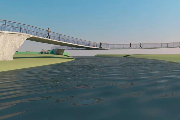 So soll die Fußgänger- und Fahrradbrücke aussehen.