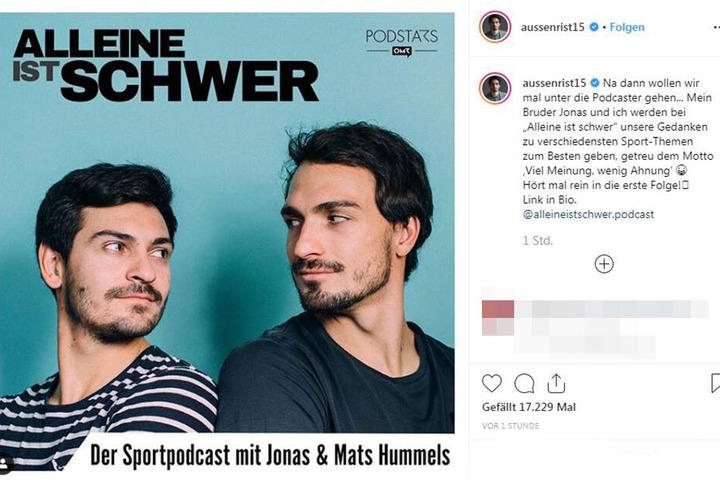 """Das Cover von """"Alleine ist schwer"""" wurde von Mats Hummels auf dessen Instagram-Account gepostet."""