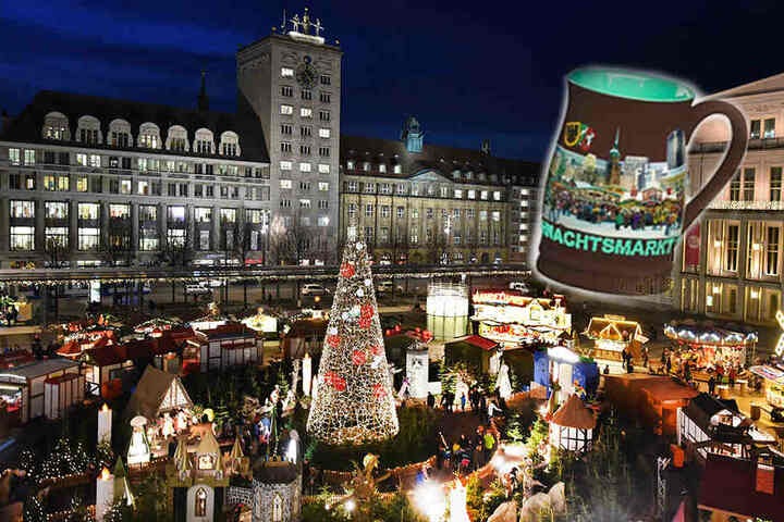 And the winner is: die mattbraune Punschtasse mit weihnachtlichen Stadtbild außen und minigrüner Innenseite.