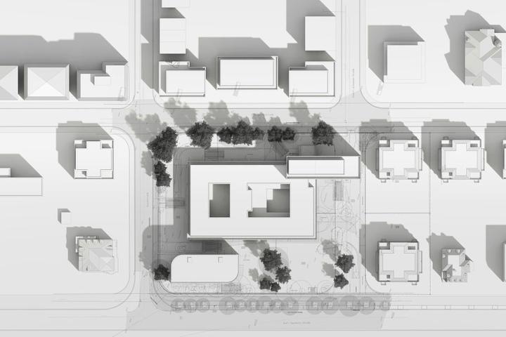 """Die Anlage von oben: Homuth freut sich über den charakteristischen """"Footprint"""", die der Gebäudekomplex im Leipziger Stadtbild hinterlässt."""