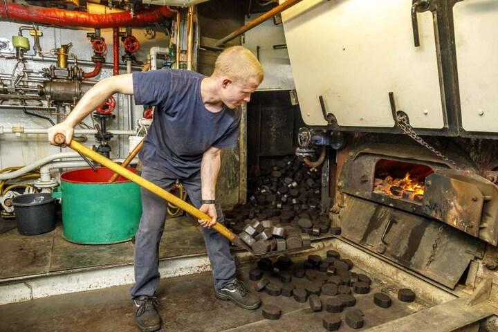 """Schwitzen für die große Fahrt: Der """"Diesbar"""" ist der letzte Raddampfer mit Kohleantrieb - und Heizer Lukas Häusler (20) muss die Briketts zentnerweise in Feuerkammer schaufeln."""