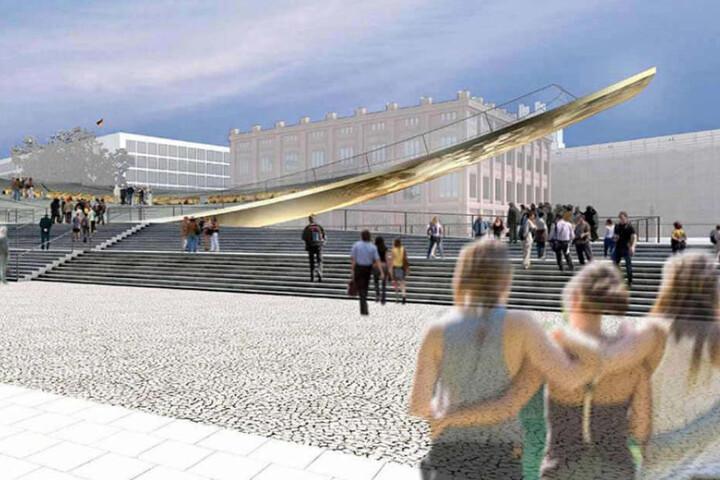 """Statt wie hier am neuen Schloss könnte die """"Einheitswippe"""" auch vor den Reichstag kommen. (Illustration)"""