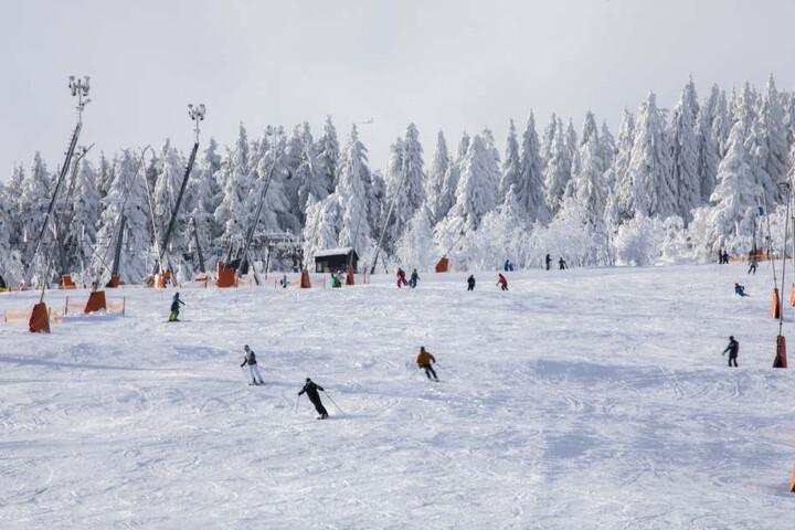 Die Skifahrer nutzten das herrliche Winterwetter.