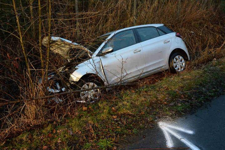 Der Hyundai schleuderte in den Graben.