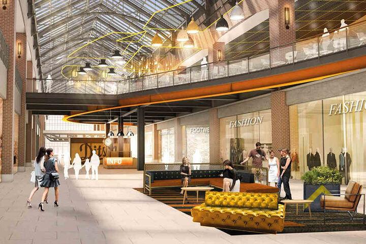 So soll's aussehen, wenn alles fertig ist: Der offene Innenbereich mit Sitzgelegenheiten ergänzt den Allee-Charakter des Einkaufszentrums.