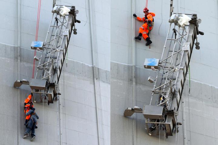 Der Höhenretter musste an der Arbeitsplattform vorbei, um zum zweiten Arbeiter zu gelangen.