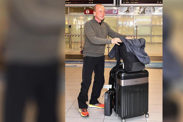 Erfolgstrainer Gerd Leopold war der einzige, der sein Gepäck in Dresden bekam.