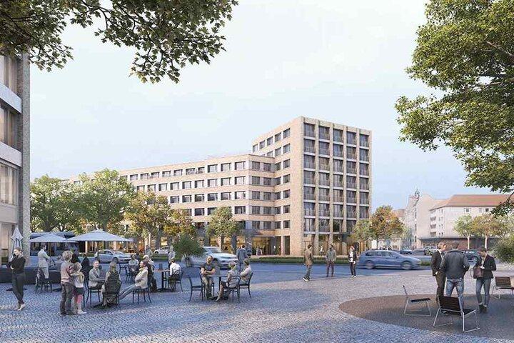 Im Hintergrund: Die Studentenwohnungen auf acht Etagen. Vorn: ein neu entstehender Stadtplatz.