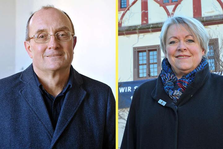 Wolfgang Hertrampf (60, F.l.) fungiert bei der Gewandhaussanierung als Projektsteuerer. In die Sanierung auch mit involviert: Steffi Haupt (61, F.r.), die Leiterin der Unteren Denkmalschutzbehörde.
