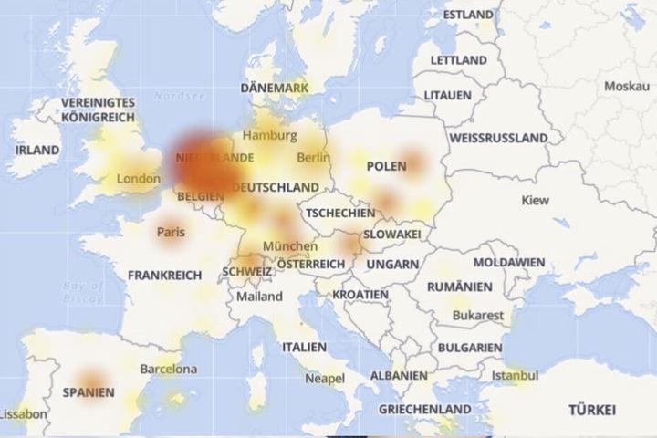"""Die Karte von """"Allestörungen"""" zeigt, welche Länder in Europa besonders von der technischen Störung betroffen sind."""