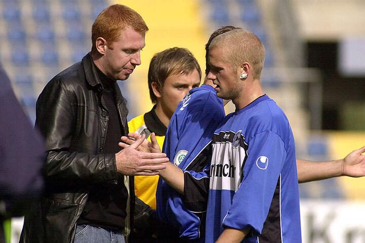 2004: Maik Walpurgis trainierte für knapp 2 Jahre die DSC-Amateure. Hier mit Ex-Armine Nils-Christian Schmidt.