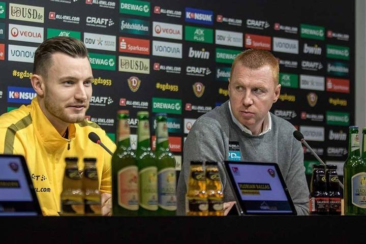 Auf der Pressekonferenz nahm Florian Ballas (l.) Freitag neben Trainer Maik Walpurgis Platz. Für Sonntag hofft Ballas auf einen Einsatz.