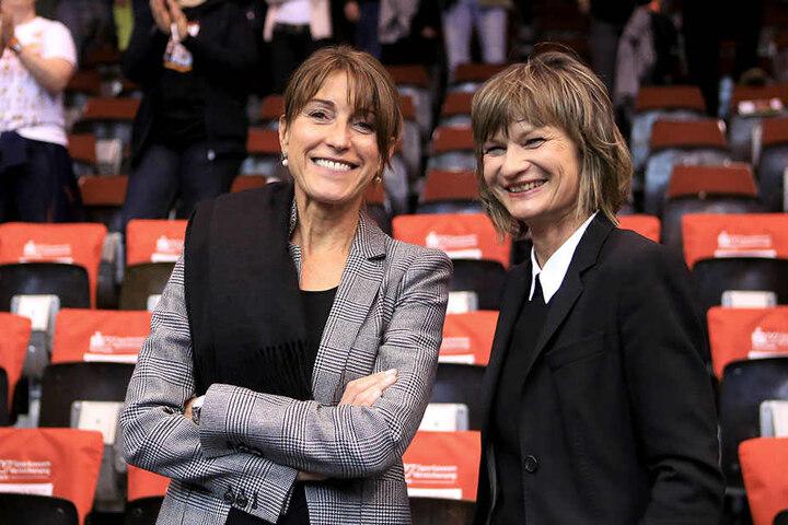 Niners-Präsidentin Micaela Schönherr (43) und OB Barbara Ludwig (55, SPD) basteln am Chemnitzer Basketball-Erfolg.