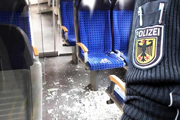 Im Zug wurde eine Glastür zerstört, dabei ein Reisender verletzt.