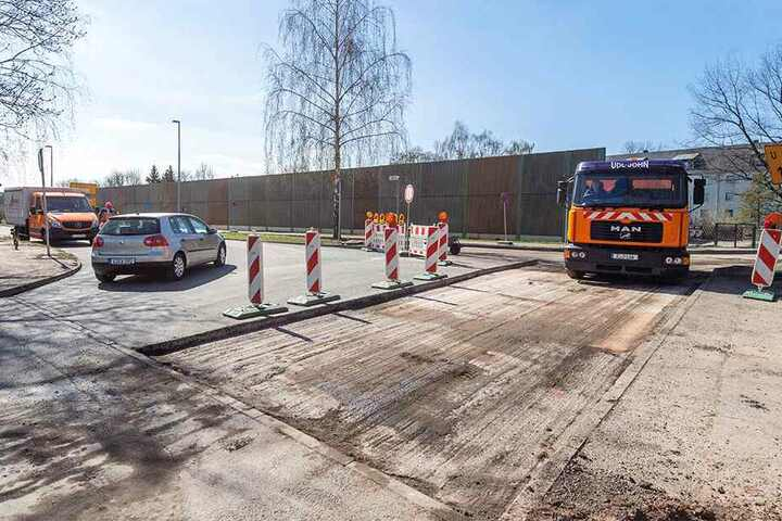 Verwirrend: Baustelle am Ende des Südrings zur Zwickauer Straße.