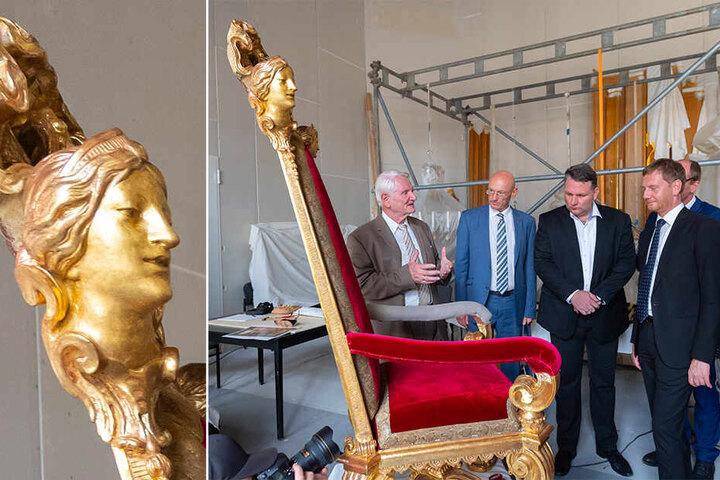 Auch der Königsthron wird zur Zeit restauriert.