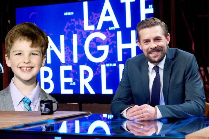 """Klaas Heufer-Umlauf (34) empfängt Iain Armitage (9) in der """"Late Night Berlin""""."""