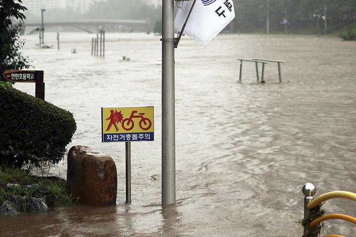 Taifun Danas hat auch Südkorea heimgesucht. Hier ein Foto aus Busan.