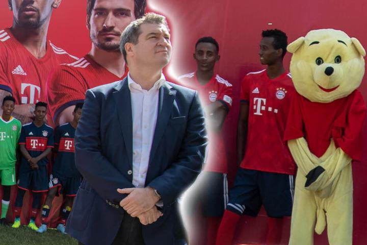 Haltung annehmen: Markus Söder und das kritisierte Maskottchen bei der Eröffnungsfeier im Vergleich. (Bildmontage)