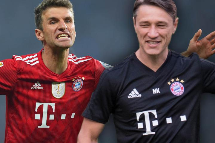 Thomas Müller (l.) und Niko Kovac (r.) treffen mit dem FC Bayern München auf Benfica Lissabon.