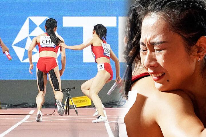 Ge Manqi (rechts), die als Schlussläuferin bereitstand, ist nach dem verpatzten Rennen in Tränen aufgelöst.
