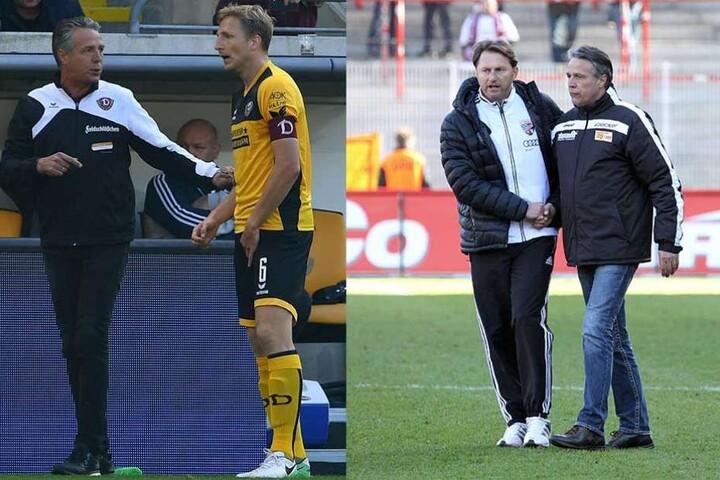 Am 8. März 2014 siegte Uwe Neuhaus (r.) mit Union bei Ralph Hasenhüttls FC Ingolstadt und mit seinem Kapitän Marco Hartmann.