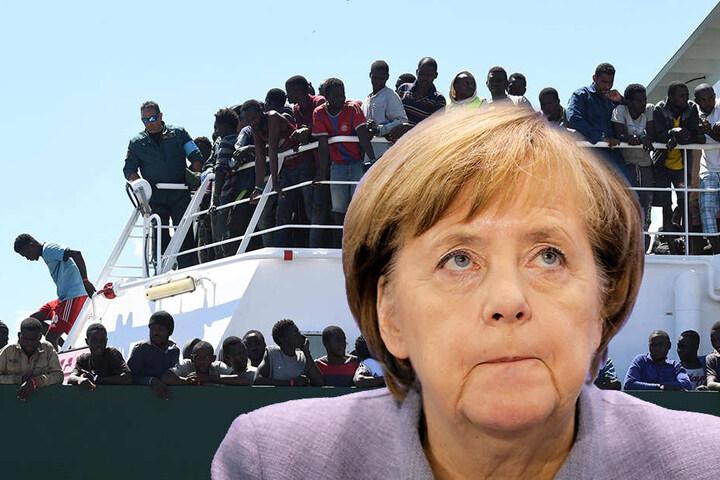 Hunderttausende junge Afrikaner sollen zur Ausbildung nach Europa kommen? CDU-Politikerin Angela Merkel ist skeptisch (Bildmontage).