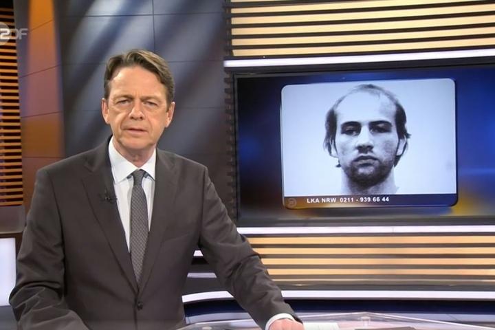 Moderator Rudy Cerne (l.) bittet die ZDF-Zuschauer um Hinweise zur Fahndung nach Norman Volker Franz (r.).