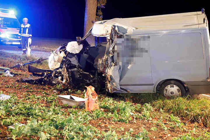 Der Fahrer des Transporters wurde bei dem Unfall schwer verletzt.