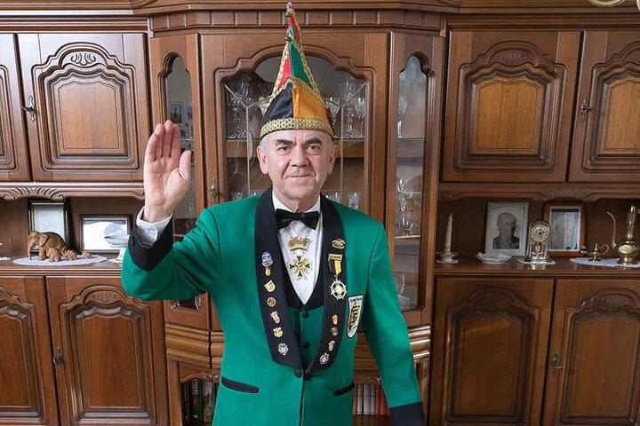 Karnevalist der ersten Stunde: Günter Bibrach ist Ehrenpräsident des Dresdner Carneval Clubs.