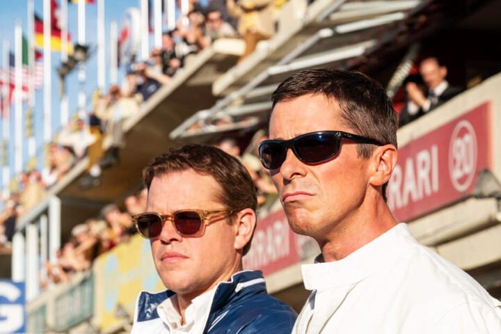 """Christian Bale (r.) und Matt Damon zeigen in """"Ford v Ferrari), wie der Film in der US-Fassung heißt, überragende Leistungen."""
