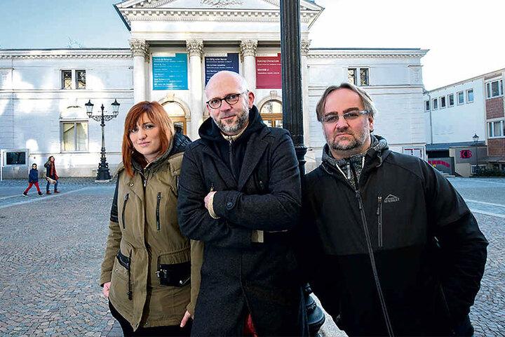 Vivien Krause (20), Robby Jahnke-Brückmann (40) und Pieter Müller (47, v.li.) drehen zusammen die Krimiserie.