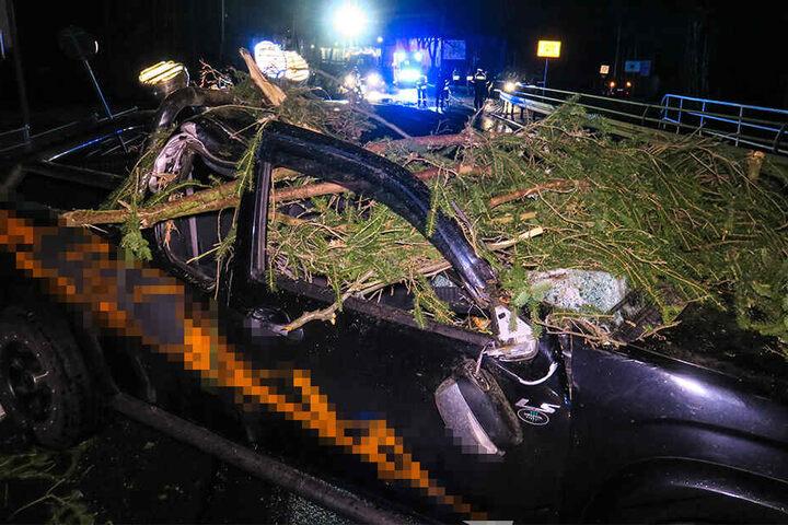 Auf der B169 wurde ein Geländewagen von einem Baum getroffen. Der Fahrer kam ins Krankenhaus.