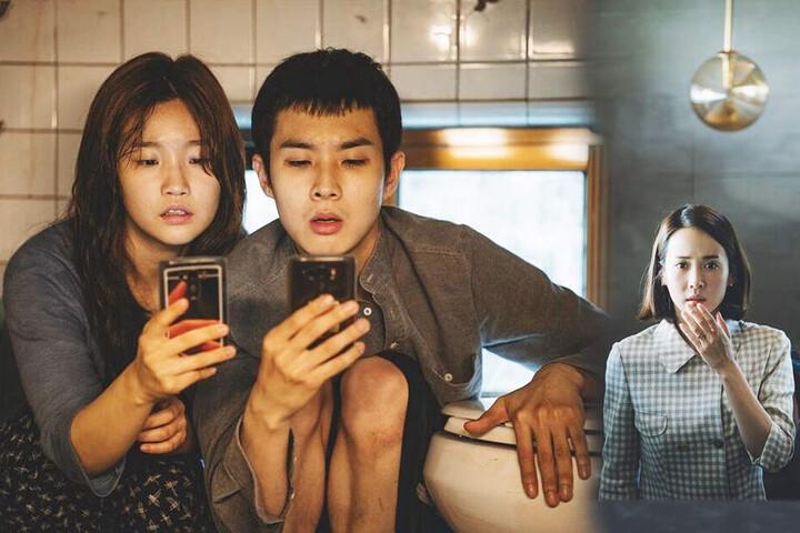 Kim Ki-woo (M., Woo-sik Choi) und seine Schwester Kim Ki-jung (l., So-dam Park) finden bei Park Yeon-kyo (Yeo-jeong Jo) eine gut bezahlte Anstellung.