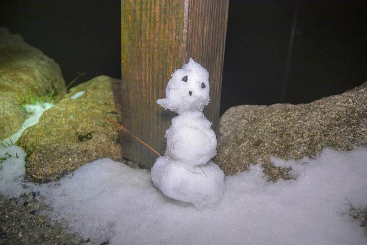 Ein (zugegeben sehr kleiner) Schneemann steht auf dem Brocken im Harz.