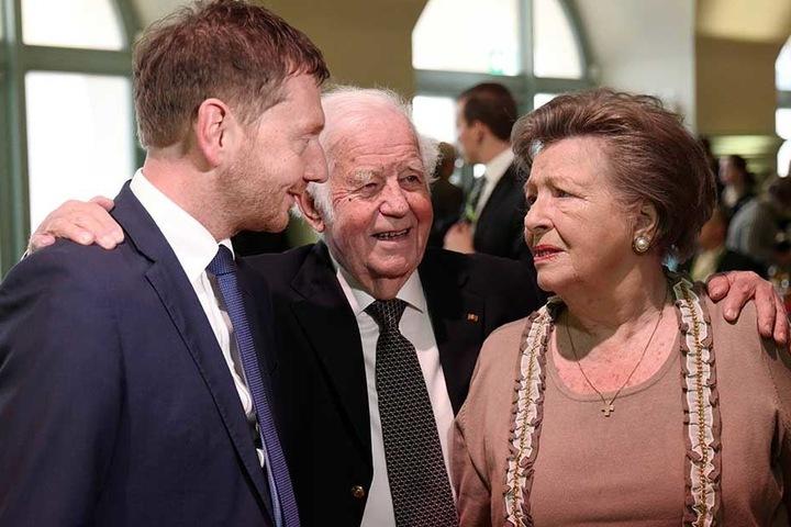 Unterstützen Kretschmer: Alt-MP Kurt Biedenkopf (88, CDU) mit Gattin Ingrid (87).