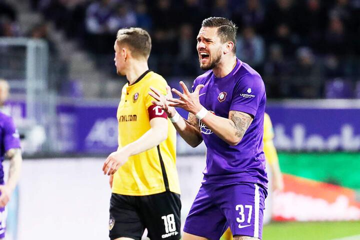 Ex-Dynamo-Stürmer Pascal Testroet konnte es nicht fassen: Aue gab eine 1:0-Führung noch aus der Hand und verlor am Ende mit 1:3!