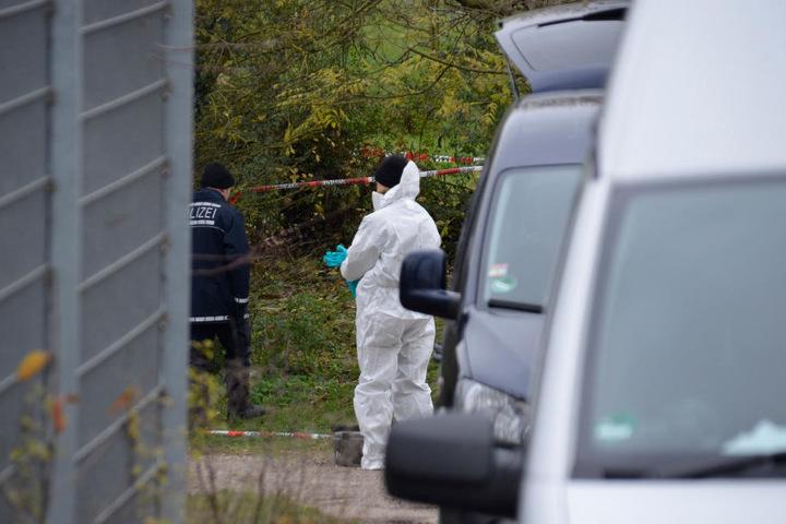 Ermittler vor Ort in Aspberg bei Ludwigsburg, wo in einem Schrebergarten eine Frauenleiche gefunden wurde.