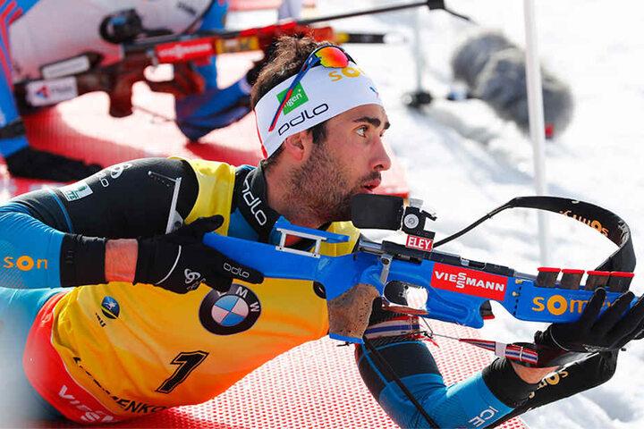 Gern versammelt sich die Weltelite, so wie der Franzose Martin Fourcade, bei der World Team Challenge auf Schalke, um den tausenden Zuschauern ein Biathlon-Spektakel zu liefern.