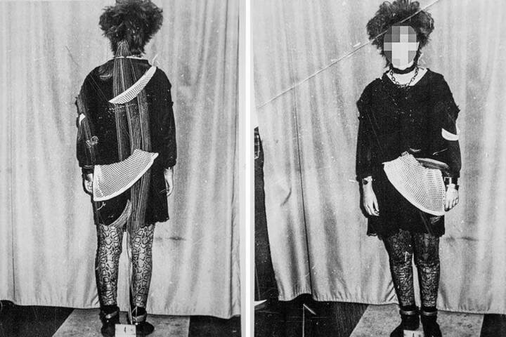 Ein Gothic-Mädchen in den Fängen der Stasi. Dieses Foto dokumentiert die erkennungsdienstliche Behandlung der jungen Frau Ende der 1980er jahre.