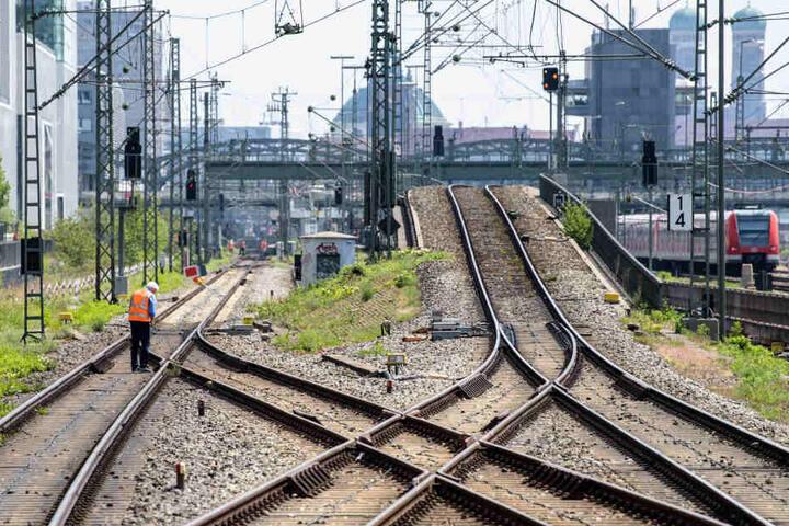 Ein Bauarbeiter untersucht die S-Bahn-Stammstrecke zwischen Donnersbergerbrücke und Hackerbrücke. (Archivbild)