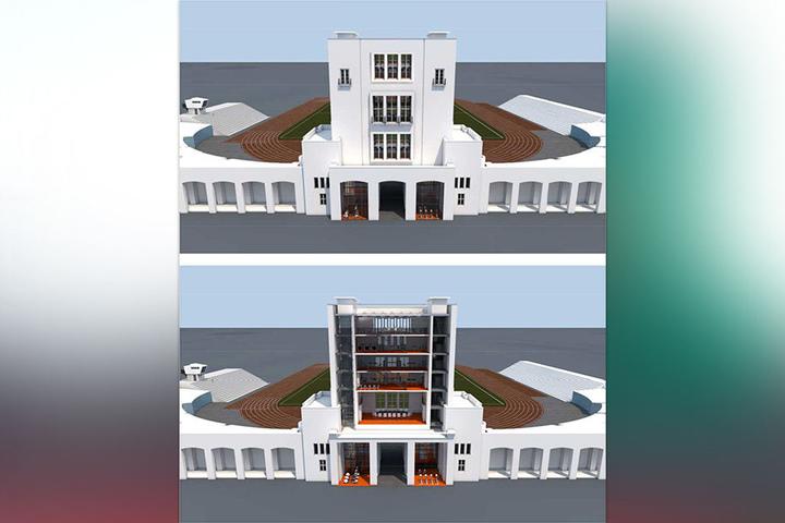 So soll der Marathon-Turm nach seiner Sanierung aussehen. Dann zieht die Olympia-Stützpunkt-Verwaltung ein.