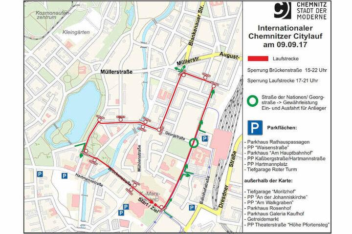 Die Stadt Chemnitz gibt eine Übersicht der Sperrungen. (Screenshot)
