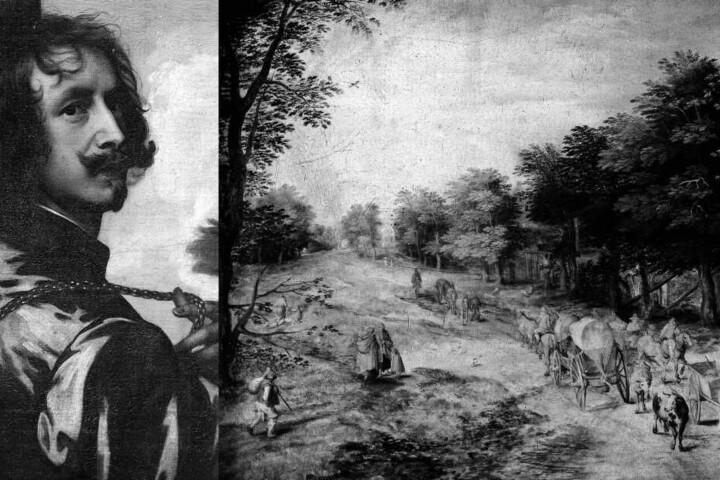 """Auch diese Bilder waren damals verschwunden: (v.li.) """"Selbstbildnis mit Sonnenblume"""" von Anthonis van Dyck und """"Landstraße mit Bauernwagen und Kühen"""" von Jan Brueghel."""