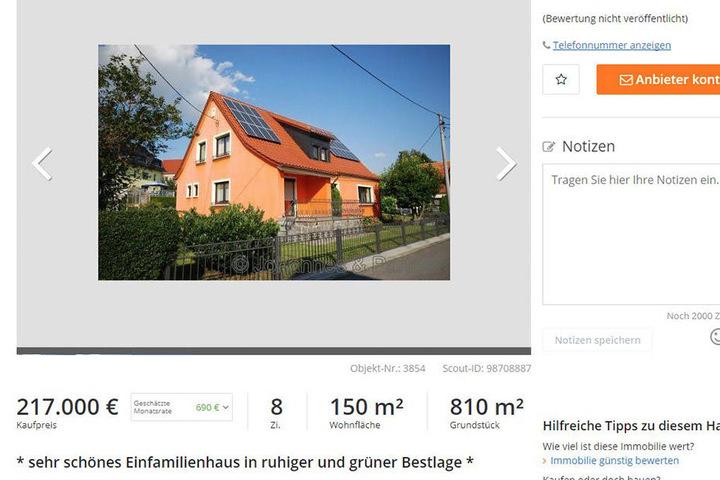 Bei ImmobilienScout24 wird das Elternhaus des sächsischen Ministerpräsidenten zum Verkauf angeboten.