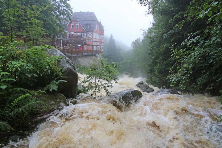 Die Flüsse im Harz sind innerhalb kurzer Zeit stark angeschwollen, wie die Hochwasservorhersagezentrale in Magdeburg mitteilte.